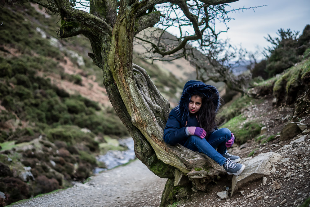 Carding Mill Valley, Leaning Tree Girl Portrait