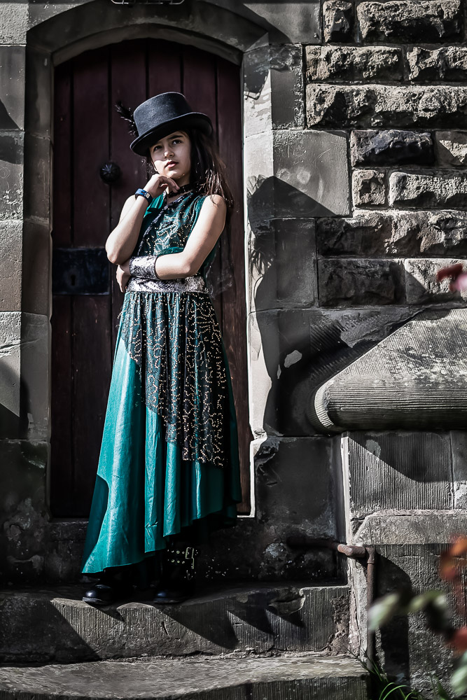 Girl Posing on Church Steps with Tophat