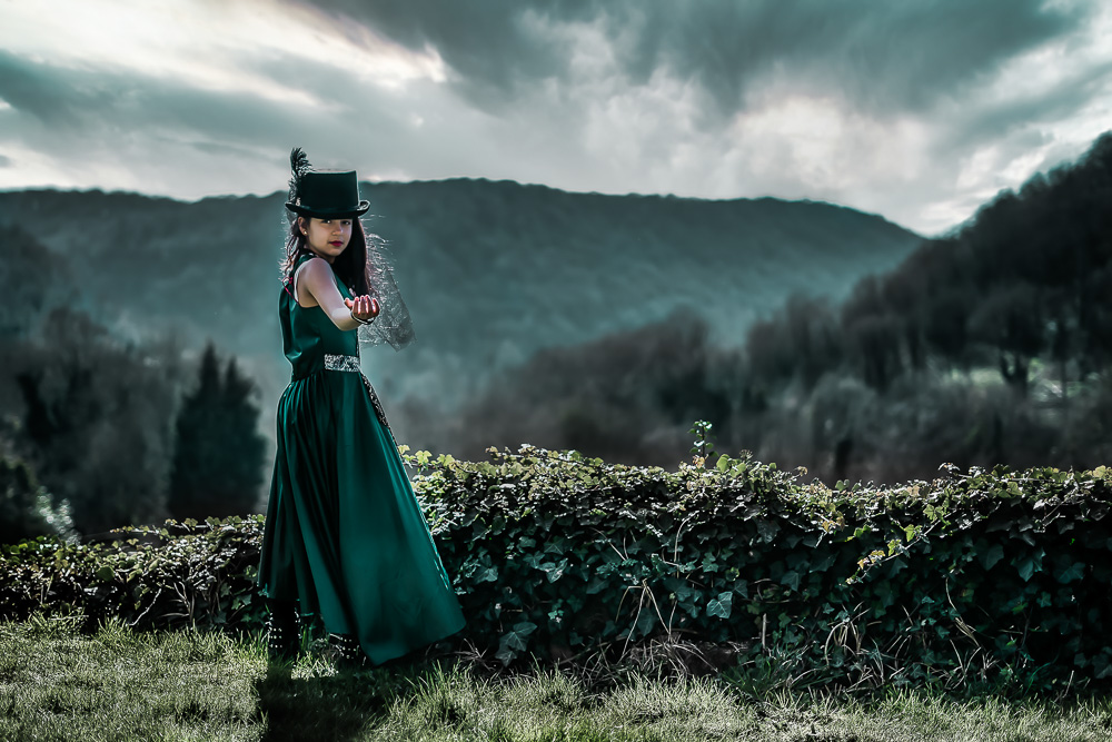 Epic sky girl portrait with Top hat