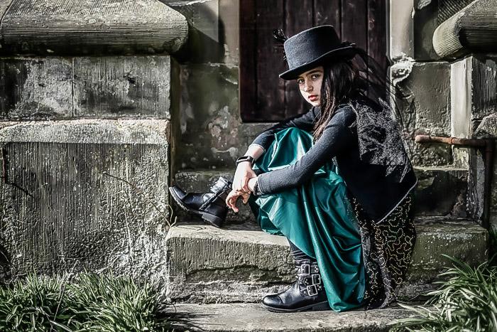 Vintage Portrait of Girl on Church Steps
