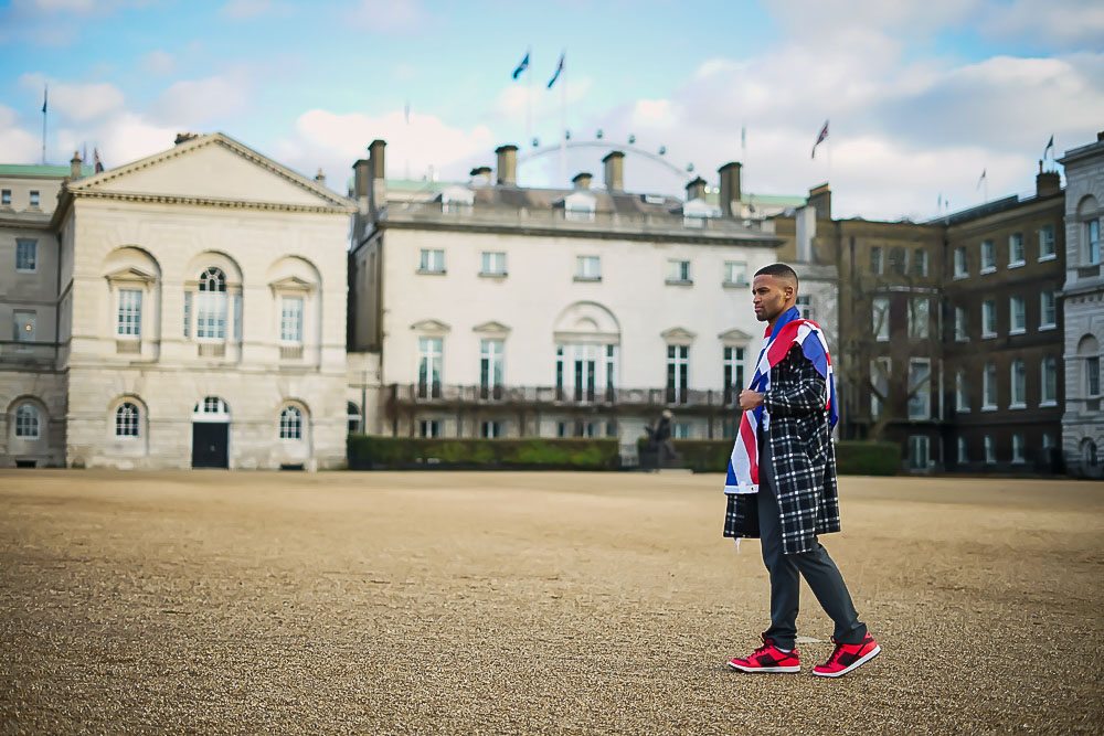 Portrait of man with Union Jack in Horse Guards Parade, Westminster, London