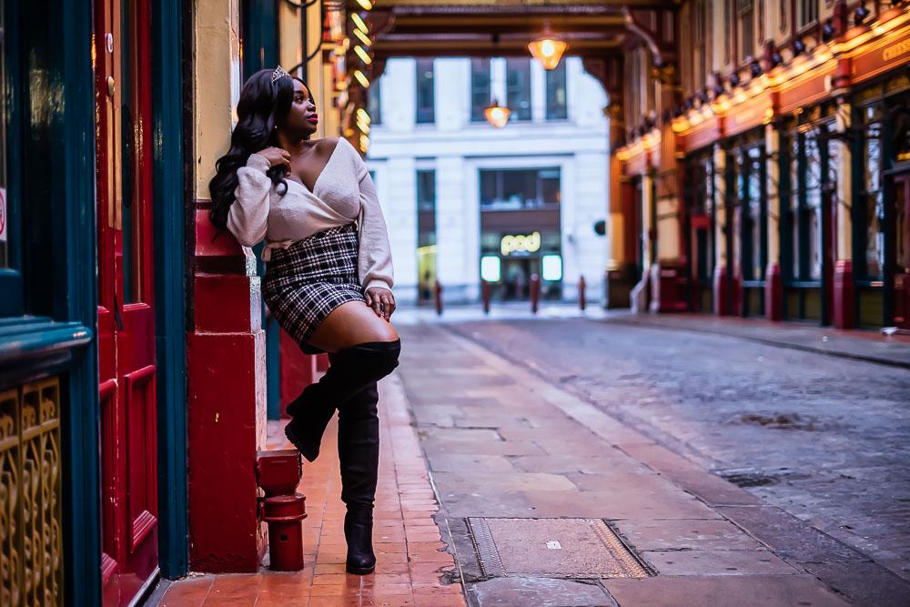 Portrait of Woman posing in Leadenhall Market, City of London