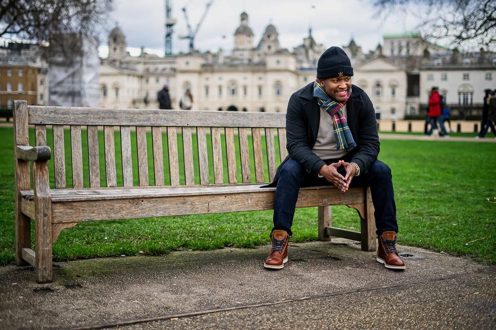 Portrait of Man sat on a bench in St James Park, Westminster, London