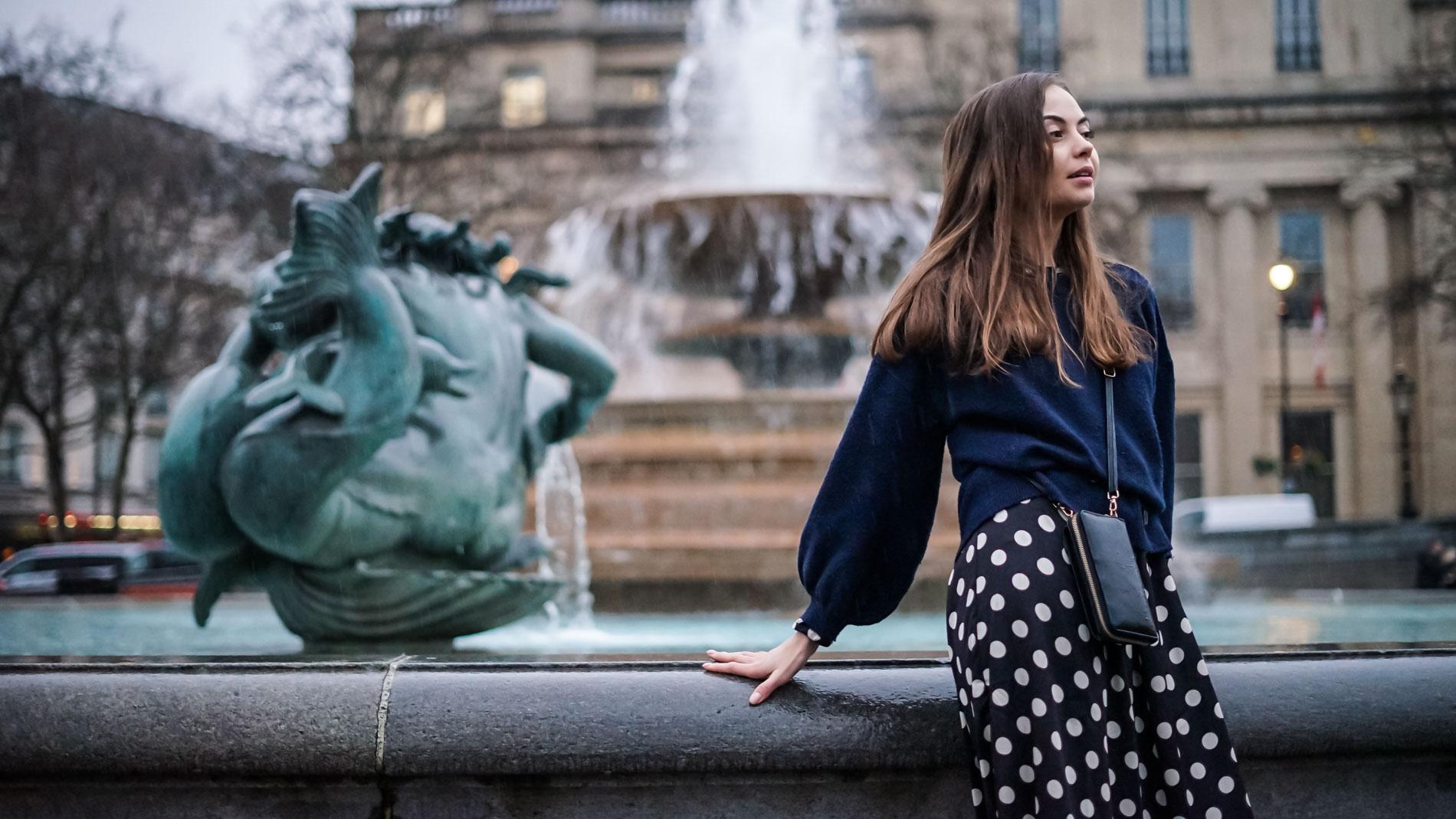 Portrait of Girl by Fountain London Trafalgar Square