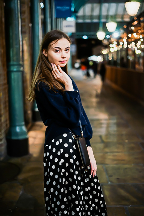 Portrait of girl in spotted dress, Covent Garden, London
